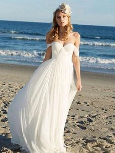 A-line Ivory Chiffon Off the Shoulder Summer Beach Wedding Dresses APD2728