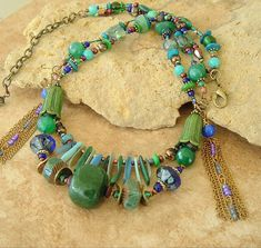 Artisan Earthy Statement Necklace Boho Jewelry Blue by BohoStyleMe