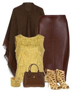 """""""golden brown"""" by divacrafts ❤ liked on Polyvore featuring Warehouse, M&S Collection, SCERVINO STREET, Christian Dior, Chanel and Original"""
