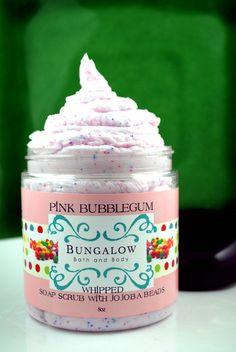 Pink Bubblegum Whipped Soap Scrub  8oz  by BungalowBathBody, $10.00