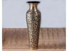 Brass Antique Leaves Patterned Vase