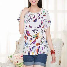blusas femininas 2016 Women Tees roupas femininas fashion T Shirt Women Loose Fit Batwing Print Pattern TOPS Chiffon T-Shirts #Fashion #Clothing