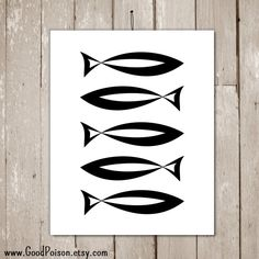 Fish wall art Black and white wall art Modern wall by GoodPoison