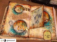 More gorgeous art journal pages by @gwenaval with her Decorative 6-Petal Flower Screen stencil plus alphabet from @carolyn_dube! #stencilgirl