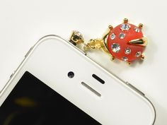 Universal red rhinestones ladybugheadphone jack plug 3,5mm for phone or mp3 reader $4.34. Want.