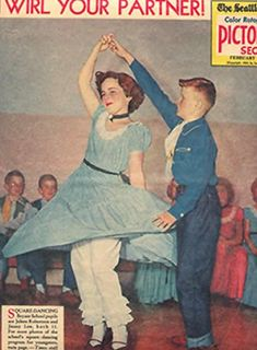 Square Dancing in school was always so mortifying!  We did some square dancing, I have a picture in our dresses.
