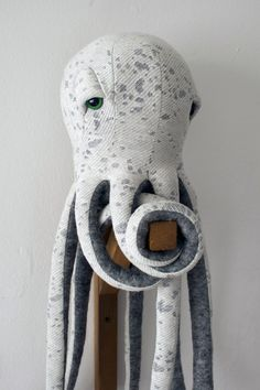 """Small Octopus. """" After making an octopus plushie for her baby niece as a """"welcome to the world"""" gift, fashion designer Dana Muskat decided to make an entire collection of creatures from her """"underwater universe"""" called BigStuffed."""" 