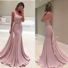 This pink prom dress features the one shoulder neckline with pleated bodice,beaded waist . Every girl will fall in love with it . $169