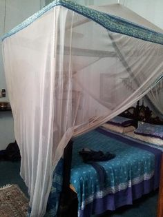 Cream mosquito net & hues of blue kerchief bedspread ~ BoHo