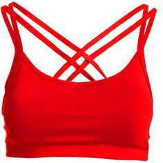 361° Cots Nx2skn Strappy Sports Bra ($20) ❤ liked on Polyvore featuring activewear, sports bras, strappy sports bra, compression sports bra and red sports bra