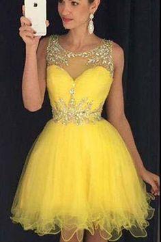Homecoming Dress,Homecoming Dresses,Sweet 16 Dress,2017 Homecoming Dress,Yellow Cocktail Dress