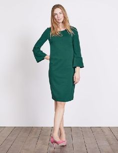 #Boden Lavinia Ponte Dress Deep Forest Women Boden, #This shift dress has got a trick up its sleeve - ruffles. The subtly flared flutter detail adds a contemporary touch to this sleek, elegant style. Made from stretchy Ponte fabric for a comfortable fit, its simple but oh SO effective.