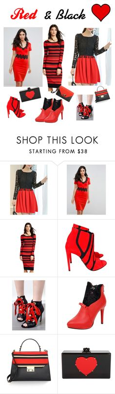 """""""Red and Black"""" by sandiwaller ❤ liked on Polyvore featuring WithChic, Paper Dolls, BB Dakota, Balenciaga, Kate Spade, Edie Parker, Givenchy and redandblack"""