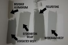 Gray Paint Colors for 2020 - Interiors By Color. Brushed Aluminum, Stonington Gray, Fieldstone and Coventry Gray.
