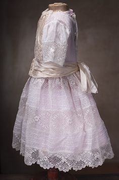 Antique Original French Dress and Pink linen Chemise for Jumeau Bru from respectfulbear on Ruby Lane