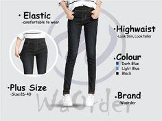 264 Black Korean Style Women's Elastic Highwaist Jeans Buy Jeans Online Malaysia Black Korean, Korean Style, Buy Jeans Online, Light In The Dark, Korean Fashion, Skinny Jeans, Plus Size, Slim, Fashion Outfits