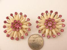 "Pink Rhinestone and Cream Plastic Flower Clip Earrings LARGE 1 7/8"" diameter"