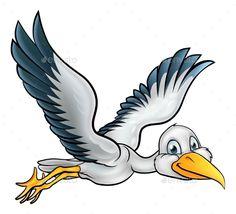 Cartoon Stork Bird