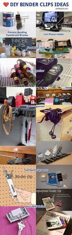 #DIY Binder Clips Useful Ideas
