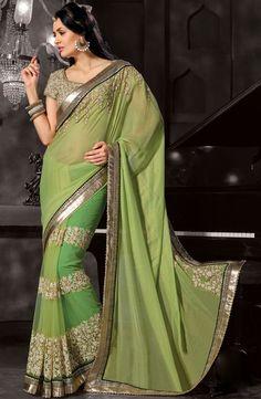 Tantalizing Tea Green Saree - Order #saree online @ http://www.yourdesignerwear.com/tantalizing-tea-green-saree-p-53927.html