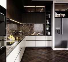 Awesome modern kitchen room are offered on our internet site. Take a look and you wont be sorry you did. Modern Kitchen Interiors, Luxury Kitchen Design, Kitchen Room Design, Kitchen Cabinet Design, Home Decor Kitchen, Interior Design Kitchen, Home Kitchens, Kitchen Ideas, Kitchen Furniture Inspiration