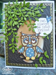 Debra Hensley created this adorable Owl Always Be Your Friend card using the new Owl and Leafy Branch dies available end of this month. For the background she used the Bark Embossing folder and the oval she cut with the oval die from the Accordion Oval Card. For more info, visit our blog here: http://ecraftdesignsblog.com/2015/04/owl-always-be-your-friend/