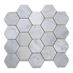 """Stone Center Corp - Carrara Marble Hexagon Mosaic Tile 3 inch Tumbled - Carrara white marble 3"""" (from point to point) hexagon pieces mounted on a sturdy mesh tile sheet"""