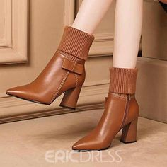 Ericdress Pointed Toe Side Zipper Chunky Heel Women s Ankle Boots Heeled Boots, Bootie Boots, Shoe Boots, Ankle Boots, Wedge Shoes, Shoes Heels, Flats, Casual Boots, Studded Heels