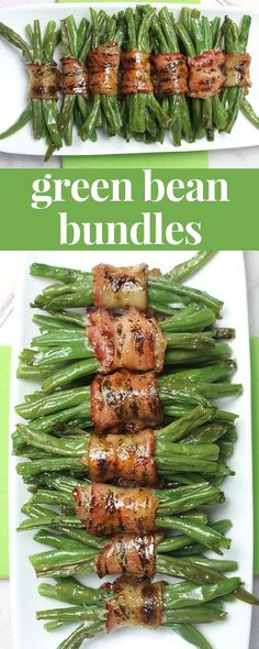 Green Bean Bundles are an easy holiday side dish - who doesn't love bacon green beans?! #sidedish #holidaydinner #greenbeans #bacon #christmasrecipes