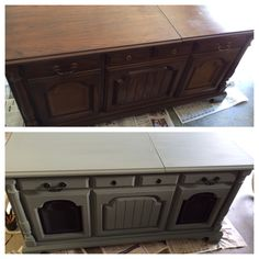 Old record player in console. Refurbished with chalk paint and gray fabric paint on the speakers.