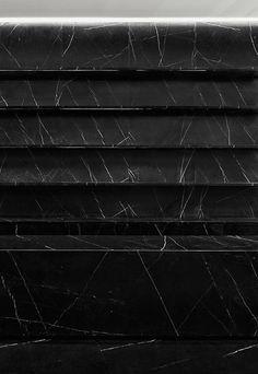 Hedi Slimane: Black marble shelving in the Saint Laurent Paris store, Shanghai. Saint Laurent Store, Saint Laurent Paris, St Laurent, Marble Stones, Stone Tiles, Retail Interior, Interior And Exterior, Architecture Details, Interior Architecture