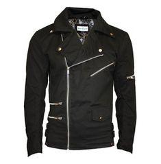 Unisex Black Zip Up Biker Racing Style Classic Jacket With Zip Detailing Stylish Jackets, Cool Jackets, Men's Jackets, Motorbike Jackets, Motorcycle Jacket, Blazers For Men Casual, Biker, Revival Clothing, Black Zip Ups