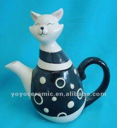 Negro y blanco gato de la suerte de cerámica