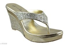 Others Golden Women Wedges Material: Synthetic Sole Material: PVC Fastening & Back Detail: Open Back Pattern: Solid Multipack: 1 Sizes:  IND-3 (Foot Length Size: 22.5 cm Foot Width Size: 10.5 cm)  IND-7 (Foot Length Size: 24.5 cm Foot Width Size: 10.9 cm)  IND-8 (Foot Length Size: 25 cm Foot Width Size: 11 cm)  IND-6 (Foot Length Size: 24 cm Foot Width Size: 10.8 cm)  IND-4 (Foot Length Size: 23 cm Foot Width Size: 10.6 cm)  IND-5 (Foot Length Size: 23.5 cm Foot Width Size: 10.7 cm)  Country of Origin: India Sizes Available: IND-8, IND-3, IND-4, IND-5, IND-6, IND-7   Catalog Rating: ★4.2 (1719)  Catalog Name: Relaxed Trendy Women Heels & Sandals CatalogID_1212711 C75-SC1061 Code: 405-7519072-999