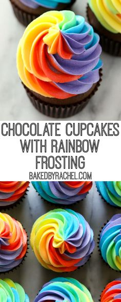 Moist homemade chocolate cupcakes with fluffy rainbow buttercream frosting recipe from A fun and festive treat for St. Patrick's Day celebrations or any day of the year! Rainbow Cupcakes Recipe, Rainbow Frosting, Kid Cupcakes, Cupcake Frosting, Buttercream Frosting, Cupcake Cakes, Cup Cakes, Frosting Recipes, Cupcake Recipes