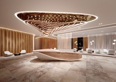 Lobby design - Preciosa Lighting Brought Magic To Salone del Mobile 2019 – Lobby design Lobby Interior, Office Interior Design, Office Interiors, Luxury Interior, Ceiling Light Design, Lighting Design, Design Comercial, Futuristic Interior, Lobby Design