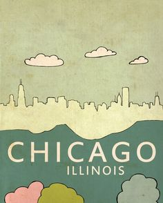 Chicago Poster Wall Art // Chicago No.3 // Travel by LisaBarbero, $18.00