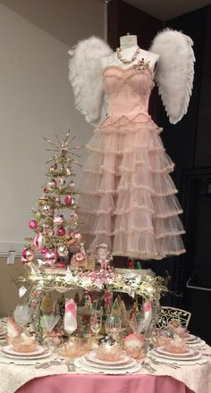 A Vintage Christmas Holiday Prom table / dress form angel Mannequin Christmas Tree, Christmas Booth, Christmas Tree Dress, Christmas Past, Pink Christmas, Xmas Tree, Vintage Christmas, Christmas Decorations, 50s Prom Dresses