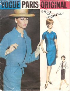 Chic Vintage 1960s Vogue Paris Original 1395 Lanvin Dress and Jacket Sewing Pattern B34 di NostalgieVintage su Etsy https://www.etsy.com/it/listing/226232808/chic-vintage-1960s-vogue-paris-original