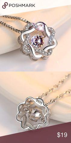 West Coast Jewelry Sterling Silver Polished Dancing Fancy Pink CZ Heart Pendant