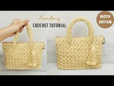 Tas Rajut Motif Anyam || Celtic Weave Stitch~Bag Crochet (English Subtitle) - YouTube Crochet Backpack Pattern, Free Crochet Bag, Crochet Purse Patterns, Crochet Pouch, Handbag Patterns, Crochet Handbags, Crochet Purses, Handbag Tutorial, Crochet Bag Tutorials