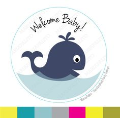 New to Mariapalito on Etsy: Baby shower Stickers whale baby shower Welcome baby PRINTED round Stickers tags Labels A992 (5.25 USD)