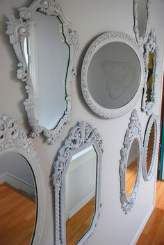 wall of white mirrors