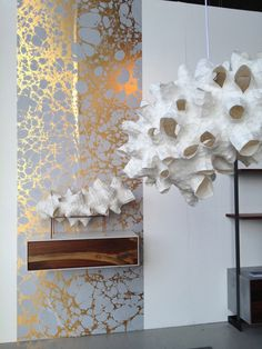Favorites from The WestEdge Design Fair Photo | Patrick Weder's amazingly beautiful and lightweight lighting and sculptures look perfect paired with Calico Wallpaper.
