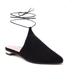 Women's Summit Kalea Ankle Tie Mule ($149) ❤ liked on Polyvore featuring shoes, black suede, black ankle strap shoes, flat pointy toe shoes, ankle strap shoes, black suede shoes and black shoes