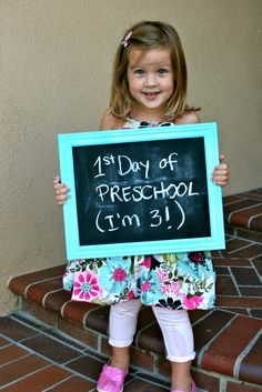 First Day of Preschool - framed chalk board 1st Day Of School, Pre School, Back To School, Learning Activities, Preschool Activities, Preschool Prep, Preschool Photography, School Readiness, School Pictures