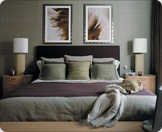 Gray and green bedroom green and grey bedroom decor coma studio mint green gray and gold Purple Gray Bedroom, Plum Bedroom, Sage Green Bedroom, Purple Bedroom Decor, Purple Bedrooms, Bedroom Colors, Dream Bedroom, Bedroom Ideas, Purple Grey