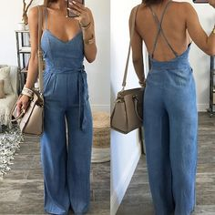 This perfect day calls for the playsuit Casual Jumpsuit, Summer Jumpsuit, Denim Jumpsuit, Look Fashion, Fashion Outfits, Romper Outfit, Mode Style, Casual Fall, Spring Outfits