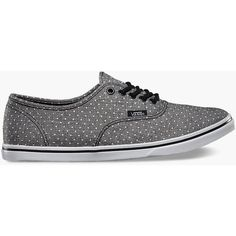 Vans Chambray Dots Authentic Lo Pro Womens Shoes (€42) ❤ liked on Polyvore featuring shoes, sneakers, vans, black, black shoes, vans shoes, black trainers, polka dot sneakers and black spot sneakers