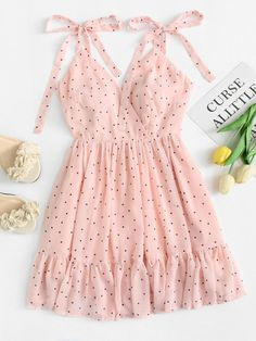 #mothersday #AdoreWe #ROMWE - #ROMWE Polka Dot Ruffle Hem Cami Dress - AdoreWe.com